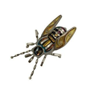 Artisan Crafted Insect Brooch Pin Mixed Metals Ena